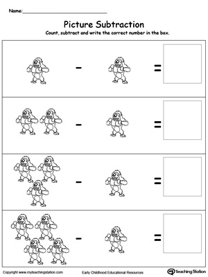 Learning subtraction using pictures in this math printable worksheet. Browse other free subtraction worksheets.