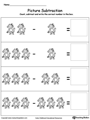 Practice subtraction using pictures in this math printable worksheet. Browse other free subtraction worksheets.