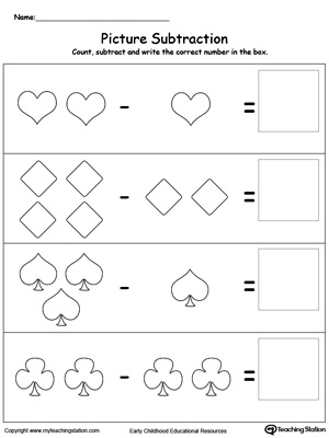 Subtraction worksheet using shapes in this math worksheet. Browse other free subtraction worksheets.