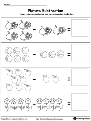Learn subtraction using pictures in this math printable worksheet. Browse other free subtraction worksheets.