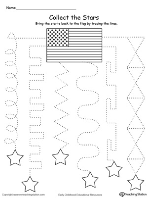Trace the pattern to collect the stars this pre-writing patriotic printable worksheet.