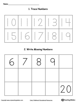 Practice writing and number sequence by completing the missing numbers 10-20 in this printable worksheet.