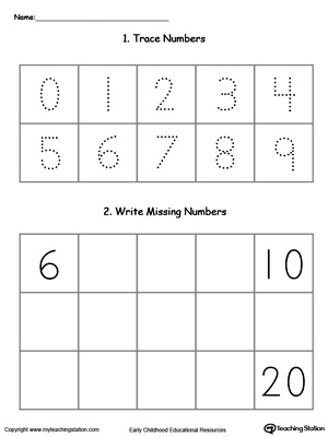 Practice writing and number sequence by completing the missing numbers 6-20 in this printable worksheet.
