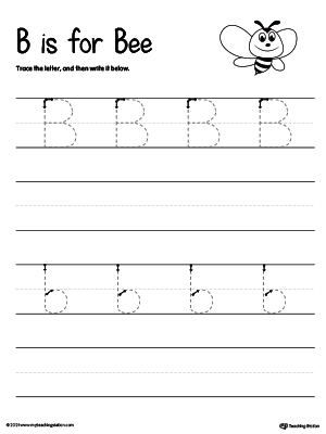 Kindergarten printable worksheets myteachingstation tracing and writing the letter b expocarfo Images