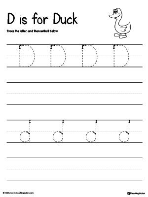 Kids Under 7: Letter D Practice Writing Worksheet