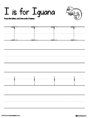 Practice writing uppercase and lowercase alphabet letter I in this printable worksheet.