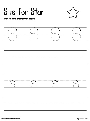 Practice writing uppercase and lowercase alphabet letter S in this printable worksheet.