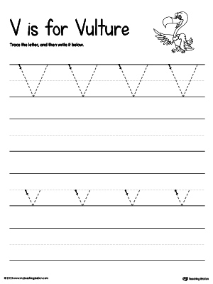 Practice writing uppercase and lowercase alphabet letter V in this printable worksheet.