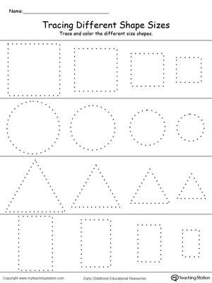 Practice drawing, tracing and coloring square, circle, triangle and rectangle shapes in this math printable worksheet.