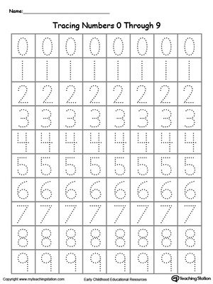 tracing numbers  through   myteachingstationcom