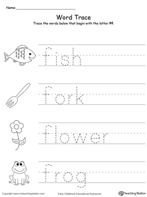 Trace Words That Begin With Letter Sound: F
