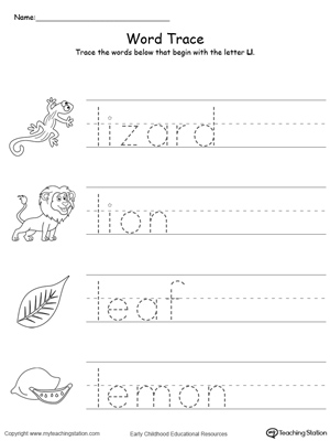Trace Words That Begin With Letter Sound: L