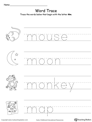 words that start with the letter o letter m printable alphabet flash cards for preschoolers 25736 | Tracing Words That Begin With Letter Sound M