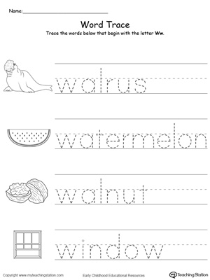 Trace Words That Begin With Letter Sound: W