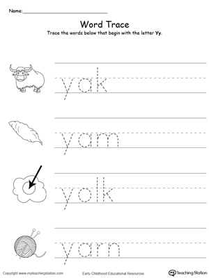 Trace Words That Begin With Letter Sound Y
