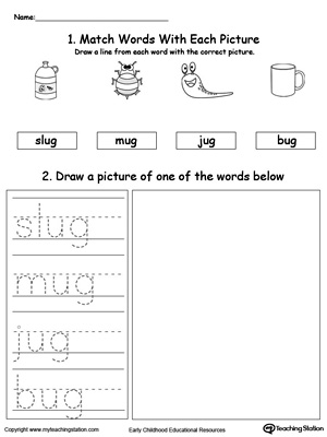 UG Word Family Phonics and Writing Practice