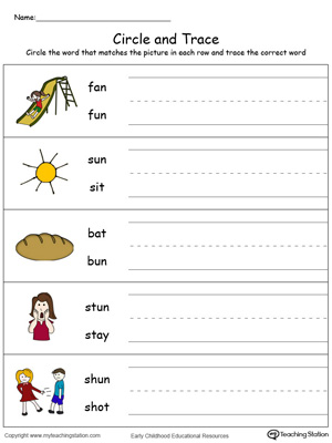 Build vocabulary, learn phonics and practice writing with this UN Word Family worksheet.