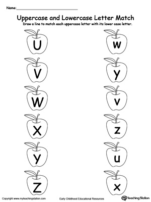 Matching Uppercase and Lowercase Letters U Through Z
