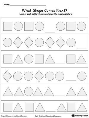 Kindergarten Shapes Printable Worksheets Myteachingstation