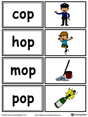 Word sorting and matching game with this OP Word Family printable worksheet in color.