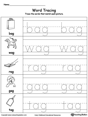 AG Word Family Find and Trace | Worksheets and Printable worksheets