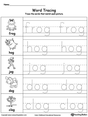 Trace the Words - Free Writing Worksheet for Kindergarten