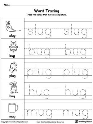 Word Tracing: ED Words | MyTeachingStation.com