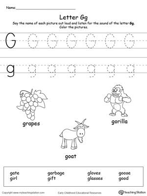 letter g alphabet flash cards for preschoolers. Black Bedroom Furniture Sets. Home Design Ideas