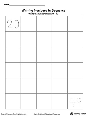 Preschool and kindergarten numbers worksheets. Learn to write numbers in sequence with these printable activity worksheets. Write numbers 20-49