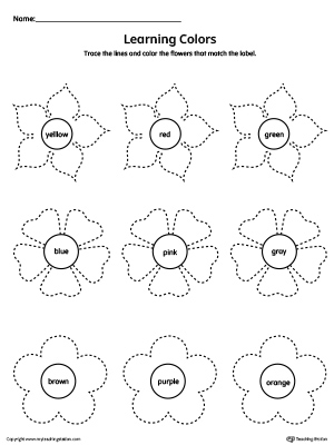Learning Colors and Tracing Flowers Worksheet | MyTeachingStation.com