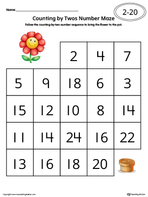 Counting by Twos Number Maze Worksheet in Color to practice skip counting from 1-20 in this printable worksheet.