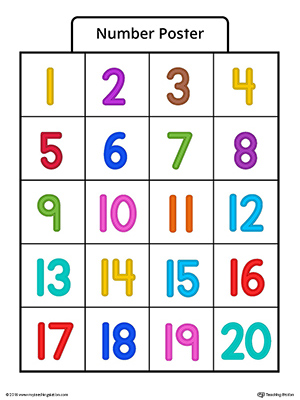 Use the Number poster 1-20 in color to help your child practice counting basic numbers.
