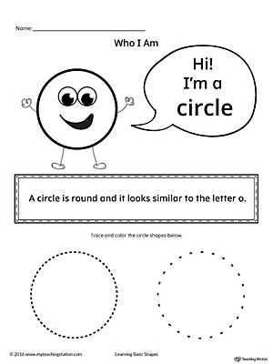 Learn the geometric shape - circle, with a fun and simple activity. This printable is perfect for introducing the concept of shapes to children in preschool.