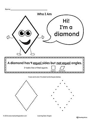 Learn the geometric shape - diamond, with a fun and simple activity. This printable is perfect for introducing the concept of shapes to children in preschool.