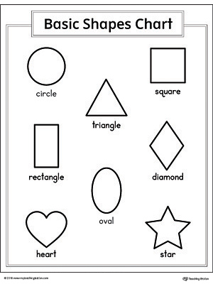 This printable geometric shapes chart shows a clear representation of a square, circle, triangle, diamond, oval, rectangle, star and heart shape.