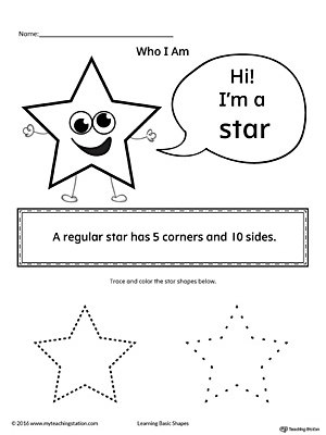 Learn the geometric shape - star, with a fun and simple activity. This printable is perfect for introducing the concept of shapes to children in preschool.