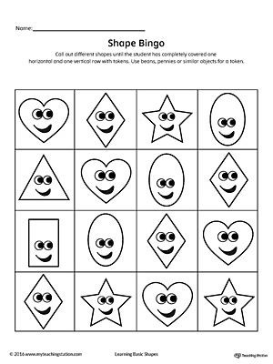 Practice identifying geometric shapes while having a ton of fun playing bingo! This card contains the heart, diamond, oval, rectangle, and star shapes.