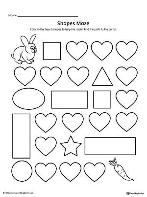 heart shape maze printable worksheet - Preschool Printable Worksheet