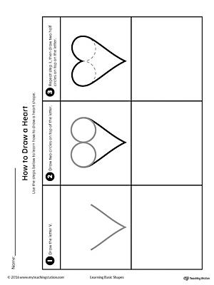 How to Draw a Heart Shape Printable Worksheet