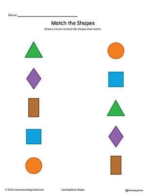 Match Geometric Shapes: Square, Circle, Triangle, Rectangle, and Diamond (Color)