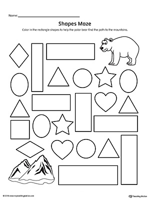 Practice identifying Rectangle geometric shapes with this fun and simple printable maze.