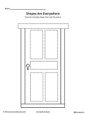 Rectangle Shape Picture Tracing Worksheet
