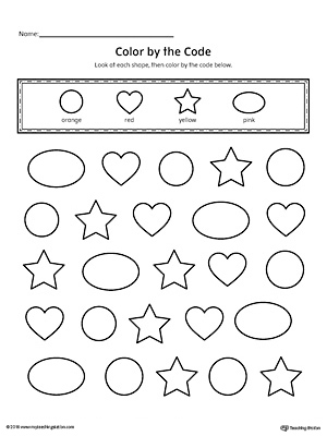 Learn shapes and colors with this fun printable worksheet. In this activity, your child will practice recognizing the circle, oval, star and heart shapes along with the colors orange, red, yellow and pink.
