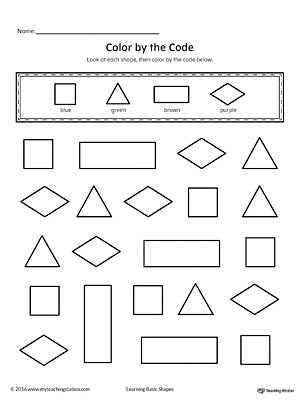 shapes color by code square triangle rectangle diamond - Colors Printable Worksheets
