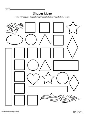 Practice identifying Square geometric shapes with this fun and simple printable maze.