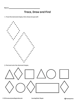 Trace, Draw and Find: Diamond Shape