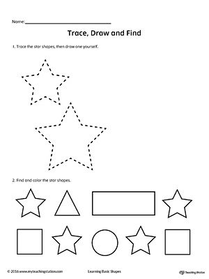 Trace, Draw and Find: Star Shape