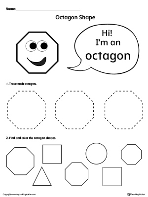 Trace and Color Octagon Shapes worksheet is perfect for introducing the octagon shape to your preschool children.