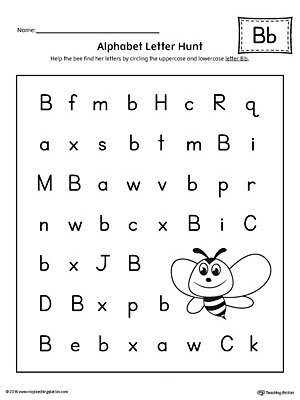 Alphabet Letter Hunt: Letter B Worksheet