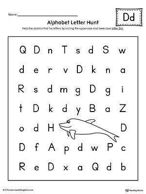 Alphabet Letter Hunt: Letter D Worksheet | MyTeachingStation.com